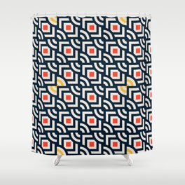 Round Pegs Square Pegs Navy Blue Shower Curtain