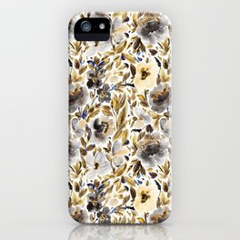 Gold and Grey Fall Feels Floral iPhone Case
