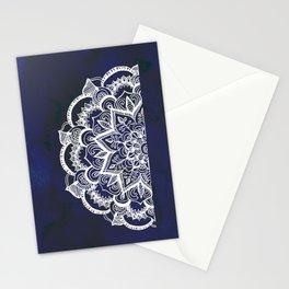 White Feather Mandala on Navy Stationery Cards
