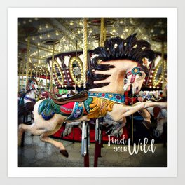 Carousel horse and sparkly lights | Find Your Wild Art Print