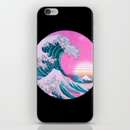 Vaporwave Aesthetic Great Wave 80s 90s Sunset iPhone Skin