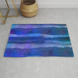Blue Abstract Watercolor Striped Painting Rug