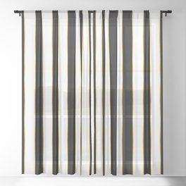 Luxury black and white striped pattern, with thin gold lines. Sheer Curtain