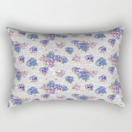 Hydrangeas and French Script with birds on gray background Rectangular Pillow