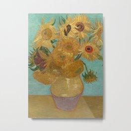 Vase with Twelve Sunflowers Metal Print