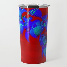 Red Sky And Blue Leaves Travel Mug