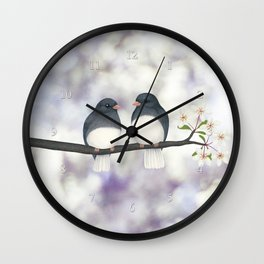 dark eyed juncos (bokeh and blossoms) Wall Clock