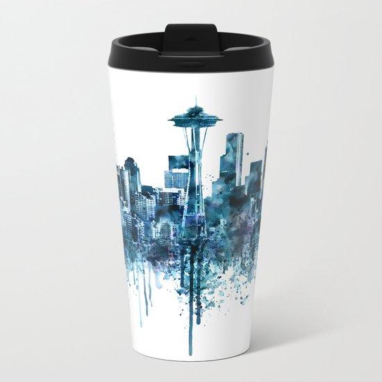 Seattle Skyline monochrome watercolor Metal Travel Mug