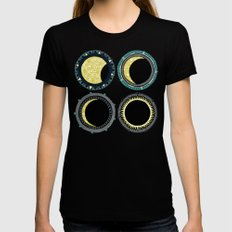 solar eclipse mandala pink Womens Fitted Tee Black LARGE