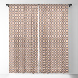 Brown Burgundy White Cell Sheer Curtain