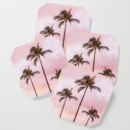 Palm Tree Photography | Landscape | Sunset Unicorn Clouds | Blush Millennial Pink Coaster