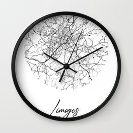 Limoges Area City Map, Limoges Circle City Maps Print, Limoges Black Water City Maps Wall Clock