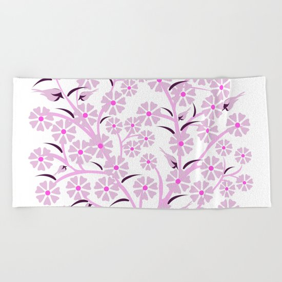Pink Flowers and Birds Beach Towel