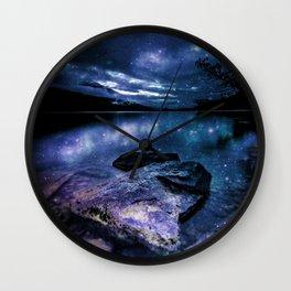 Magical Mountain Lake Indigo Teal Wall Clock