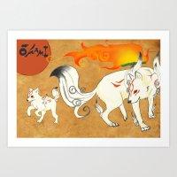 okami Art Prints featuring Okami! by Caroline.Sweet