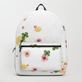 Watercolor cute cows family with flowers Backpack