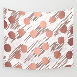 Scratch and Dot abstract minimalist copper metallic art and patterned decor Wall Tapestry