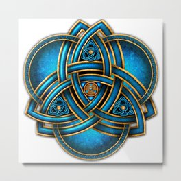 Blue Celtic Triquetra Knot Metal Print