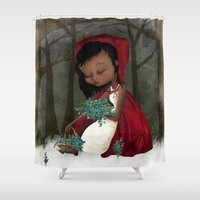 red riding hood Shower Curtains featuring Red Riding Hood by solocosmo