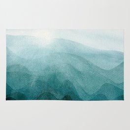 Sunrise in the mountains, dawn, teal, abstract watercolor Rug