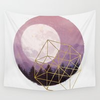 the moon Wall Tapestries featuring moon by Laura Graves