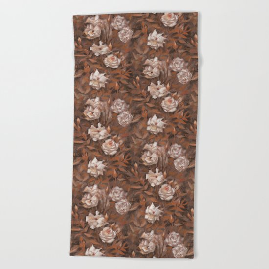 """White roses"" hand drawn vintage floral pattern in earth colors Beach Towel"