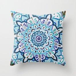 Gold Silver Blue Mandala Throw Pillow