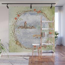 Christmas vintage fox Wall Mural