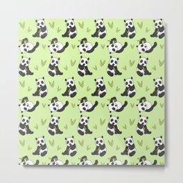 Cute Panda Pattern Metal Print
