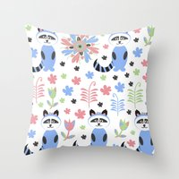 racoon Throw Pillows featuring Racoon pattern  by luizavictoryaPatterns