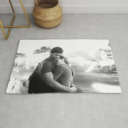 The Lovers | Timeless Night Scene Couple Embrace Romantic Hug Black and White Long Exposure Rug
