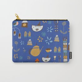 hygge cat and bird blue Carry-All Pouch