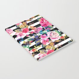 Cute spring floral and stripes watercolor pattern Notebook
