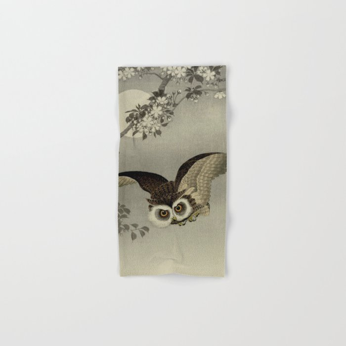 Japanese Owl and Moon Hand & Bath Towel