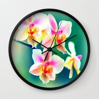 orchid Wall Clocks featuring orchid by haroulita