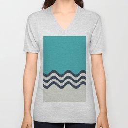 Aqua, Alabaster and Navy Blue Wavy Horizontal Stripes Line Minimal Pattern 3 - Aquarium SW 6767 Unisex V-Neck