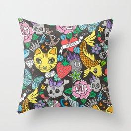 Tattoo Cats,Roses,Strawberry,Skulls Throw Pillow