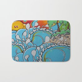 Wavy reef break Bath Mat
