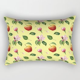 Watercolor pattern: Apple, apple blossom ang leaves Rectangular Pillow