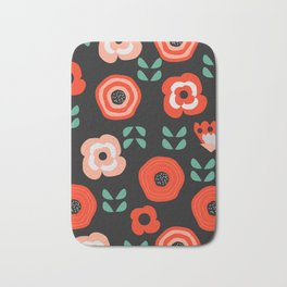 Midnight floral decor Bath Mat