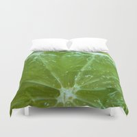 lime green Duvet Covers featuring Lime Green and Fresh by BluedarkArt