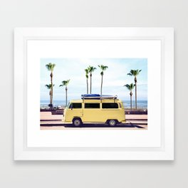 Surfer's Yellow Van Framed Art Print