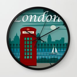 Commercial Travel Poster Colorful Vintage Art London Wall Clock
