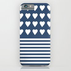 Heart Stripes Navy iPhone 6 Slim Case