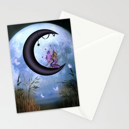 Beautiful fairy sitting on the moon Stationery Cards