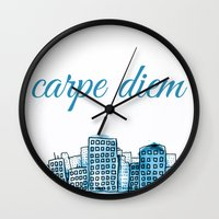 carpe diem Wall Clocks featuring Carpe Diem by Mankind Design