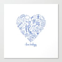 biology Canvas Prints featuring i heart biology by lucylamplight