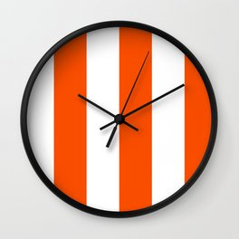 Wide Vertical Stripes - White and Dark Orange Wall Clock