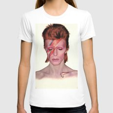 David Bowie White Womens Fitted Tee SMALL