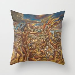 The Fall of Tenochtitlan, the capital of the Aztec Empire landscape by A. Cantu Throw Pillow